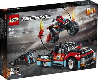Konstruktorius LEGO®Technic 42106 Kaskadininkų pasirodymo sunkvežimis ir motociklas
