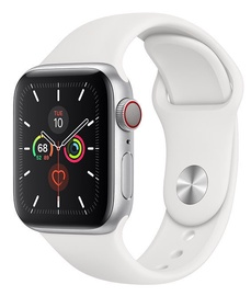 Išmanus laikrodis Apple Watch Series 5 40mm GPS Silver Aluminum Case with White Band Cellular