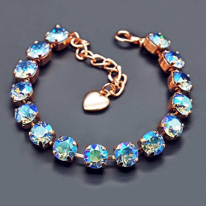 Diamond Sky Bracelet Classic Light Sapphire Shimmer With Swarovski Crystals