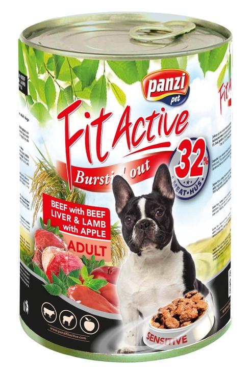 Konservuotas ėdalas šunims Fit Active Burstin' Out, su ėriena ir jautiena, 1.24 kg