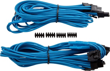 Corsair Premium Individually Sleeved PCIe Cables with Dual Connectors, Type 4 (Gen 3) Blue