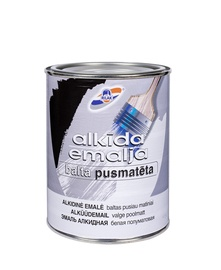 Alkīda emalja Rilak, balta, pusmatēta, 0,9l