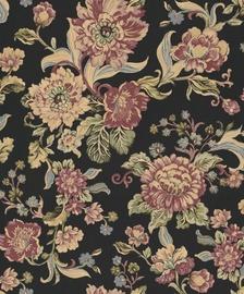 Tapetas flizelino pagrindu BN 220461 Fiore, juodas su bordo gėlėmis