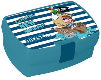 Must Plastic Lunch Box  Bue With Pirates
