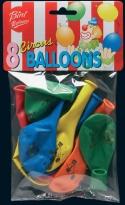 Воздушный шар VIBORG Clown, синий/красный/желтый/зеленый/oранжевый, 8 шт.