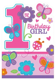 Amscan Sweet Birthday Girl 1st Birthday Invitations 8pcs