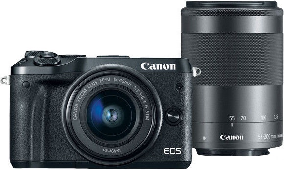 Canon EOS M6 + EF-M 15-45mm + 55-200mm IS STM Black
