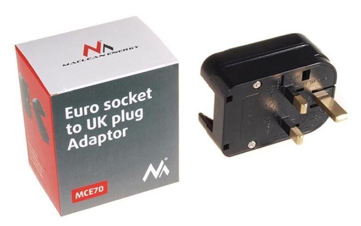 Адаптер Maclean Adapter AC plug G / AC plug C/E Black
