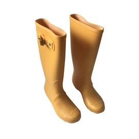 Moteriški guminiai batai, su aulu, geltoni, 37 dydis