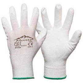 Monte Nylon Knitted Gloves With PU White 10