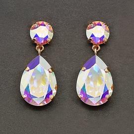 Diamond Sky Earrings Crystal Drop IV Aurore Boreale With Swarovski Crystals