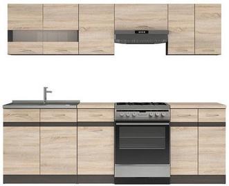 Virtuvės baldų komplektas Black Red White Junona Line 240 Sonoma Oak/Wenge, 2.4 m
