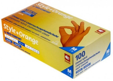 Рабочие перчатки Ampri Med Comfort Style Orange Nitril Powder Free Gloves M 100pcs