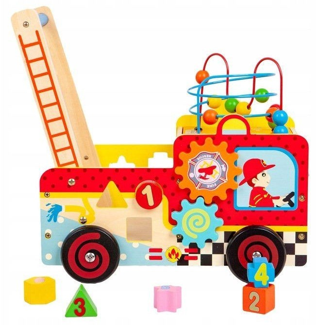 Ecotoys Fire Brigade Wooden Pusher And Blocks