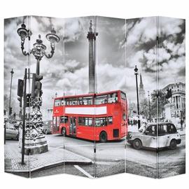 Ширма VLX Folding Room Divider London Bus, белый/черный/красный, 228 см x 170 см