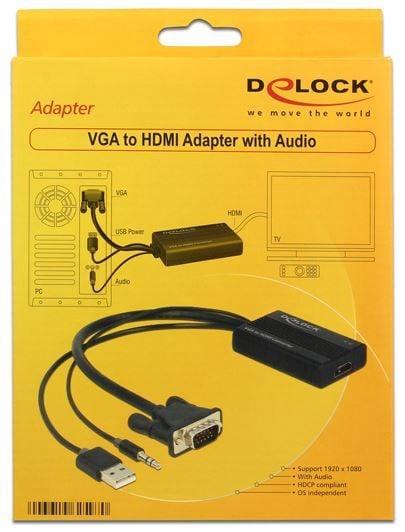 Delock Adapter VGA / 3.5 Jack / USB Black