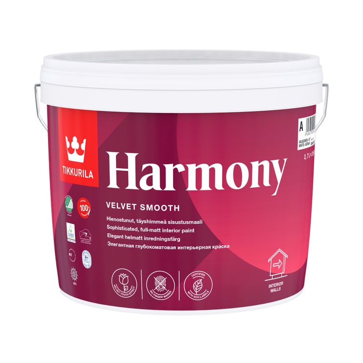 Krāsa sienām un griestiem Tikkurila Harmony A, 2.7 l, balta