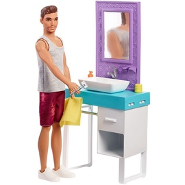 Mattel Barbie Ken And Bathroom Playset FYK53