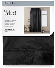 AmeliaHome Velvet Pleat Curtains Black 140x245cm