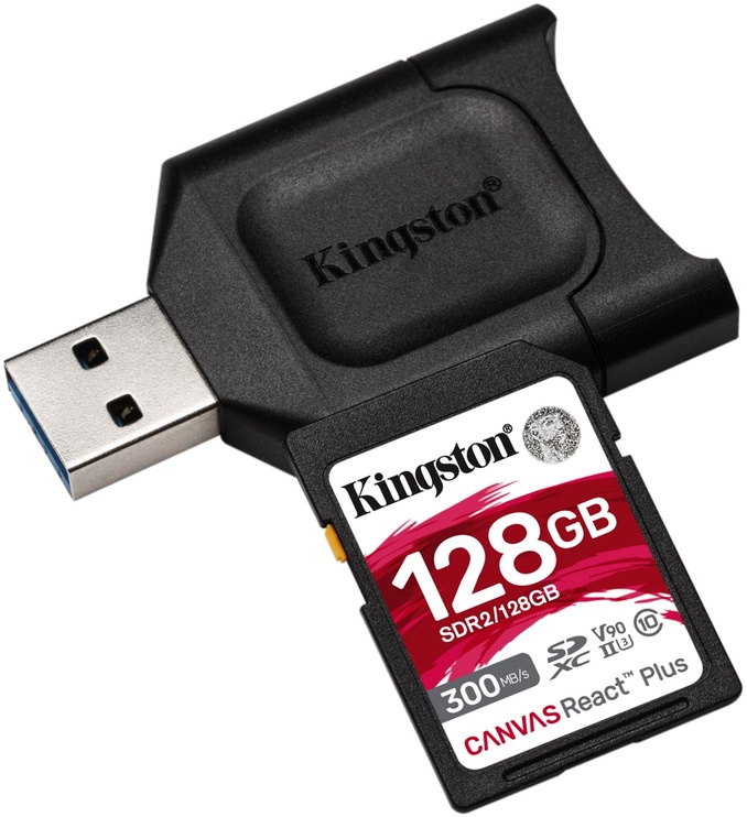 Kingston Canvas React Plus 128GB SDXC UHS-II Class 10 w/Adapter