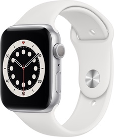 Išmanusis laikrodis Apple Watch Series 6 GPS 44mm Silver Aluminum White Sport Band