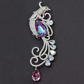 Diamond Sky Brooch Fairy Peacock IV Vitrail Light With Swarovski Crystals
