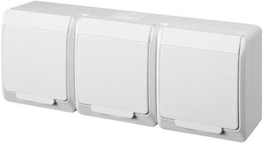 Kištukinis lizdas trivietis Elektro-Plast Hermes 0326-02, baltas