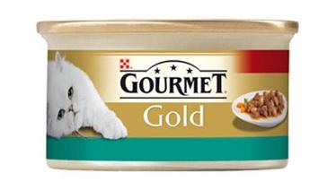 Konservuotas ėdalas katėms Gourmet Gold, su lašiša ir vištiena, 85 gr