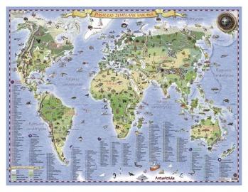 Pasaulio žemėlapis vaikams, laminuotas