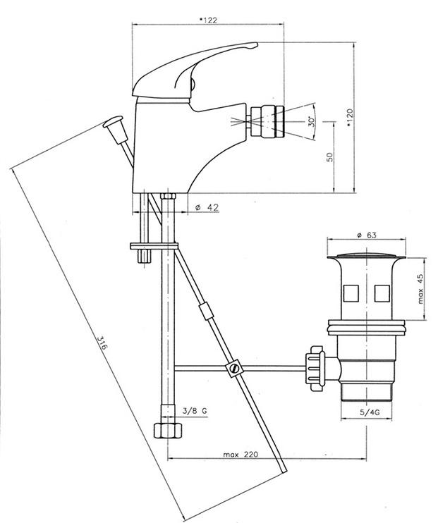 Ūdens maisītājs bidē Novaservis Neon 93011.0