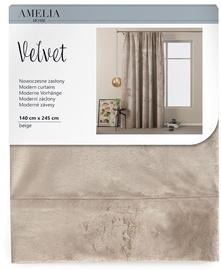 Nakts aizkari AmeliaHome Velvet Pleat, smilškrāsas, 1400x2450 mm