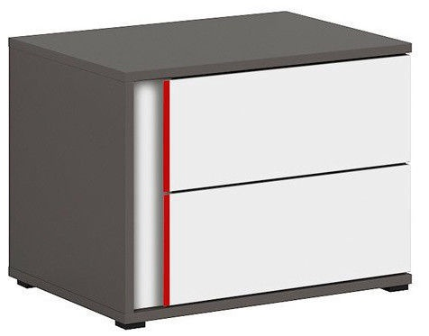 Black Red White Graphic Night Stand Left White/Red/Wolfram Grey