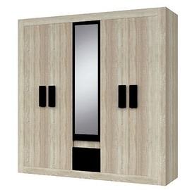 Idzczak Meble Mediolan 5D Wardrobe Sonoma Oak/Black