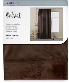 Öökardin AmeliaHome Velvet Pleat, pruun, 1400x2450 mm