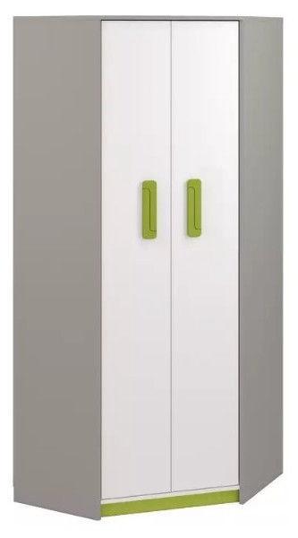 Skapis ML Meble Q 01, balta/zaļa/pelēka, 82x82x199 cm