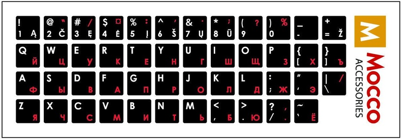 Mocco Keyboard Sticks LT/ENG/RU With Laminated Waterproof Level White / Red