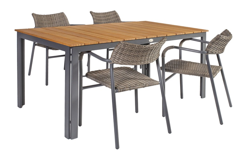 Home4you Greenwood Table And 4 Chairs Set Dark Grey