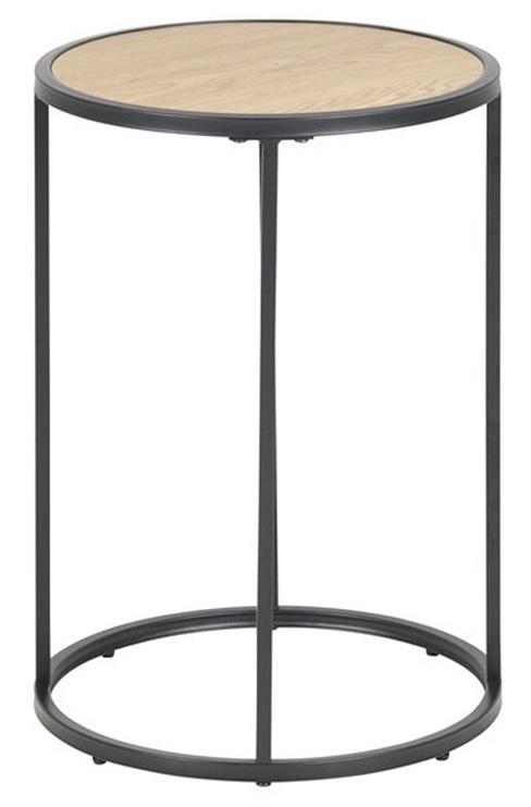 Kafijas galdiņš Home4you Seaford, melna/ozola, 400x400x550 mm