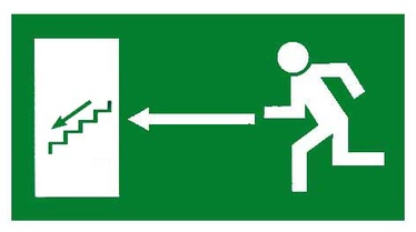 Exit Left Sign Sticker 240x135mm Green/White