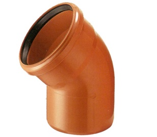Āra kanalizācijas caurules 45° līkums Wavin D160mm, PVC