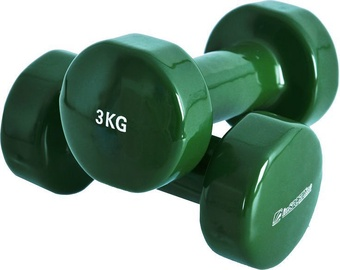 inSPORTline Vinyl Dumbbell Set Green 2x3kg