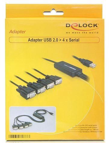 Адаптер Delock Adapter USB 2.0 / Serial RS-232 DB9 x4