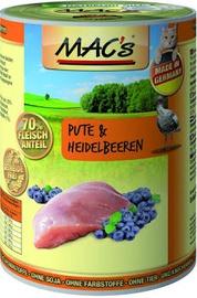 Влажный корм для кошек (консервы) Mac's Turkey & Blueberries 400g