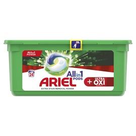 Skalbimo kapsulės Ariel Ultra Oxi, 24 vnt.