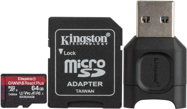 Kingston Canvas React Plus 64GB microSDXC UHS-II Class 10 w/Adapters