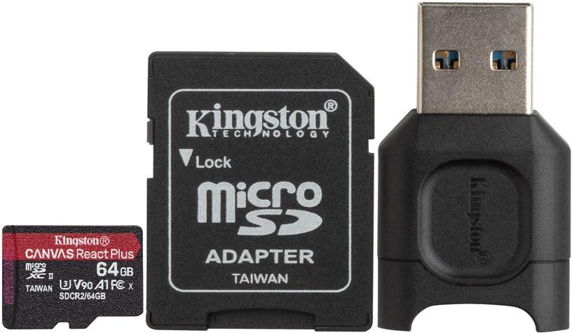Mälukaart Kingston Canvas React Plus 64GB microSDXC UHS-II Class 10 w/Adapters
