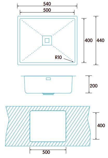Раковина Edesa MAKALU BE 50x40 1C R-10, 540 мм x 440 мм x 200 мм