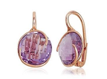 Diamond Sky 14K Red Gold Amethyst Earrings Amethyst Greatness XV Solid Gold 585
