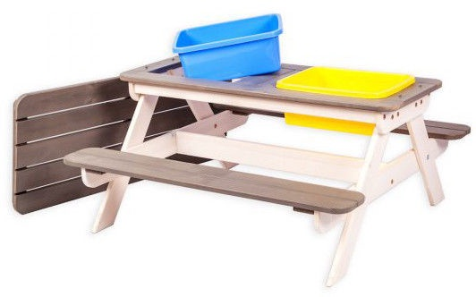 Folkland Timber Multifunctional Children's Picnic Table With Baths White/Graphite