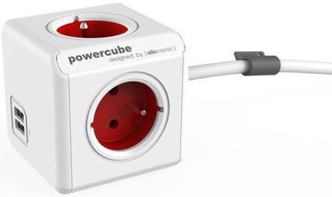 Allocacoc PowerCube Extended USB FR Socket 1.5m Red